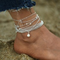 Silver Plated Multi Layered Anklet Set