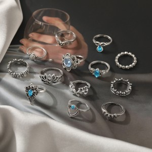 13 Pieces Silver Plated Carved Rings Set