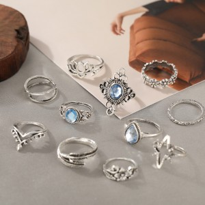 10 Pieces Silver Plated Carved Rhinestones Rings Set