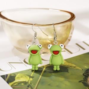 Frog Carved Cartoonish Hooked Earrings Pair