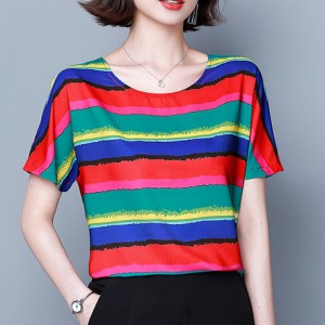 Round Neck Stripes Digital Printed Summer Blouse Top - Red