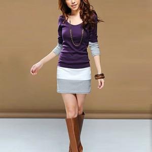 Bodycon Contrast Full Sleeves Mini Dress - Purple