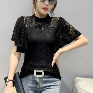 Flare Short Sleeves Floral Textured Blouse Top - Black