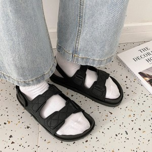 Buckle Closure Plastic Flat Wear Sandals - Black