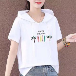 Summer Wear Hoodie Neck Top - White
