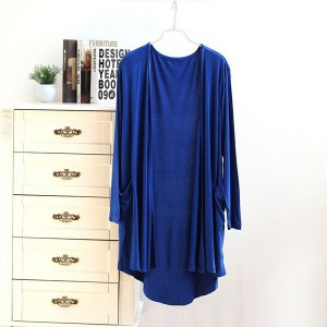 Solid Color Full Sleeves Beach Wear Cardigan - Blue