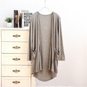 Solid Color Full Sleeves Beach Wear Cardigan - Gray