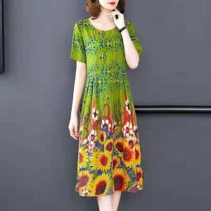 Sunflower Round Neck Short Sleeves Midi Dress - Green
