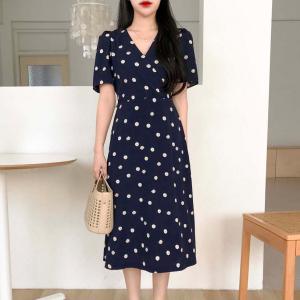 Polka Dotted Trendy Fashion Midi Dress - Dark Blue