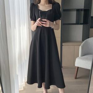 Solid Color Short Sleeves Women Fashion Midi Dress - Black