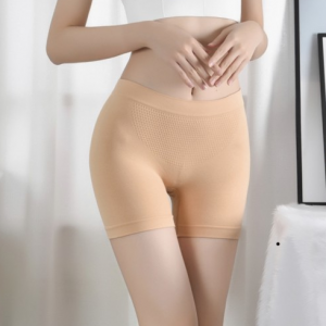 Breathable Solid Color Fitted Shorts Underwear - Apricot