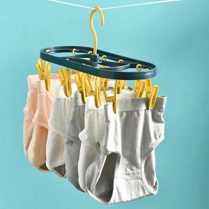 Hanger Plastic Thick Socks Clip Drying Rack Windproof Multi-Clip Folding Hanger Drying Panty