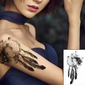 Feathers Printed Skin Friendly Non Toxic Easy Pasting Tattoo - Black