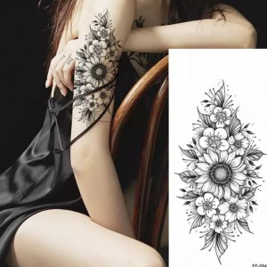 Sunflower Print Non Toxic Skin Friendly Easy Pasting Waist Tattoo - Black