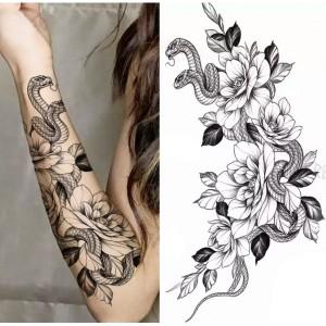 Printed Snake Non Toxic Skin Friendly Easy Pasting Waist Tattoo - Black