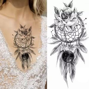 Rose Printed Non Toxic Skin Friendly Easy Pasting Waist Tattoo - Black