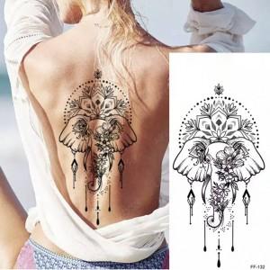 Elephant Printed Non Toxic Skin Friendly Easy Pasting Waist Tattoo - Black