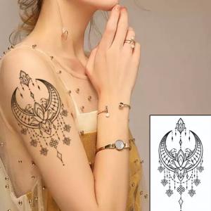 Printed Non Toxic Skin Friendly Easy Pasting Waist Tattoo - Black