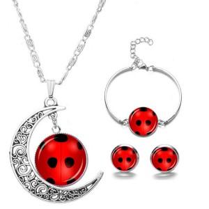 Ladybug Jewelry Set Necklace Bracelet Earring Fancy Accessory Set