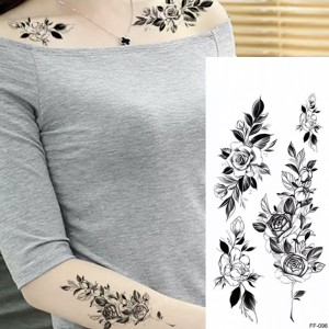 Printed Floral Non Toxic Skin Friendly Easy Pasting Waist Tattoo - Black