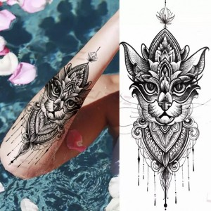 Printed Animal Non Toxic Skin Friendly Easy Pasting Waist Tattoo - Black