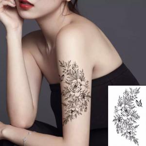 Printed Rose Non Toxic Skin Friendly Easy Pasting Waist Tattoo - Black