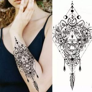 Animal Print Non Toxic Skin Friendly Easy Pasting Waist Tattoo - Black