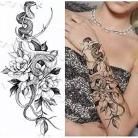Snake Printed Non Toxic Skin Friendly Easy Pasting Waist Tattoo - Black