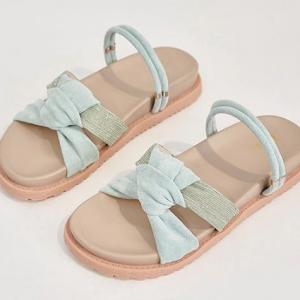 Knotted Canvas Flat Wear Fancy Women Fashion Sandals - Blue