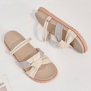 Knotted Canvas Flat Wear Fancy Women Fashion Sandals - Khaki