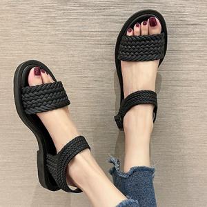 Braid Pattern Buckle Closure Flat Wear Sandals - Black