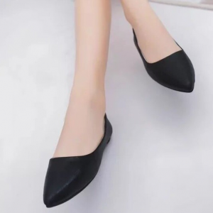 Pointed Shiny Party Wear Women Fashion Shoes - Black
