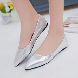 Pointed Shiny Party Wear Women Fashion Shoes - Silver