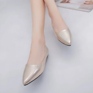 Pointed Shiny Party Wear Women Fashion Shoes - Golden