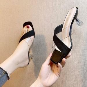 Cross Strap Slip Over Goblet Heels - Black