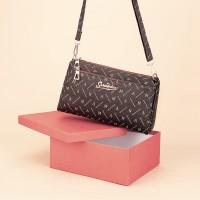 Zipper Closure Printed High Quality Messenger Bags - Brown