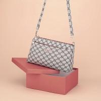 Zipper Closure Printed High Quality Messenger Bags - Beige