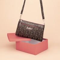 Zipper Closure Printed High Quality Messenger Bags - Coffee
