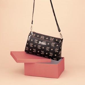 Zipper Closure Printed High Quality Messenger Bags - Dark Brown