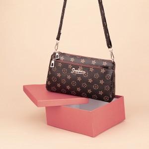 Zipper Closure Printed High Quality Messenger Bags - Brown Black