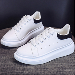 Synthetic Leather Lace Closure Flat Sneakers - Black and White