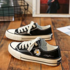 Thread Art Floral Canvas Flat Wear Sneakers - Black