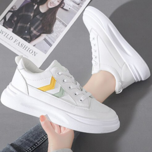 Thick Sole Lace Closure Synthetic Sports Wear Sneakers - Multicolor