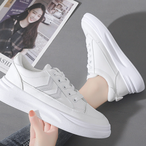 Thick Sole Lace Closure Synthetic Sports Wear Sneakers - White