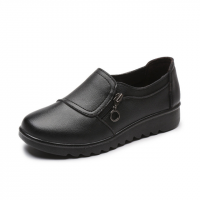 Zipper Closure Synthetic Leather Flat Shoes - Black