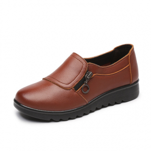 Zipper Closure Synthetic Leather Flat Shoes - Brown