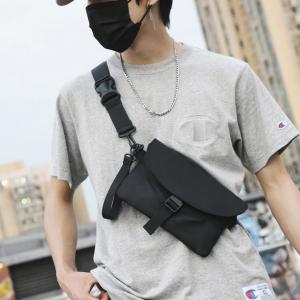 Nylon Buckle Closure Envelope Style Travel Bags - Black