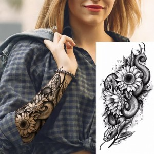 Flower Print Non Toxic Skin Friendly Easy Pasting Waist Tattoo - Black