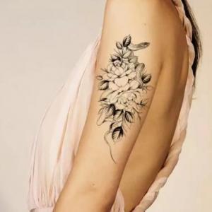 Floral Print Non Toxic Skin Friendly Easy Pasting Waist Tattoo - Black