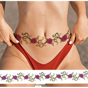 Floral Print Non Toxic Skin Friendly Easy Pasting Waist Tattoo - Purple